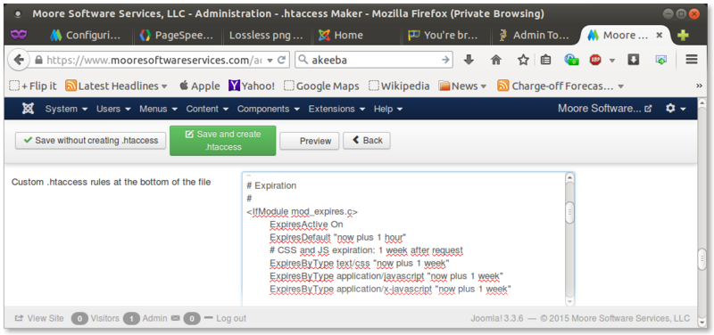 Akeeba Admin Tools custom .htaccess rules for local browser caching
