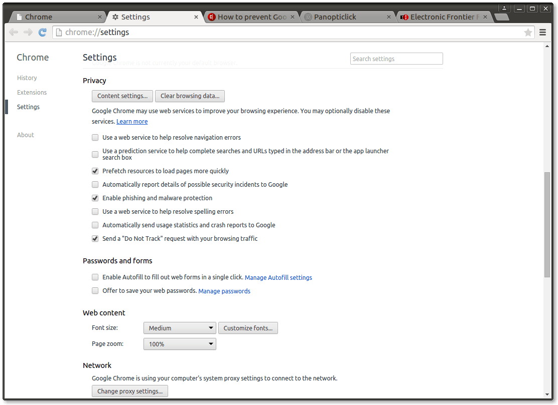 Figure 4.  Privacy Settings in Google Chrome