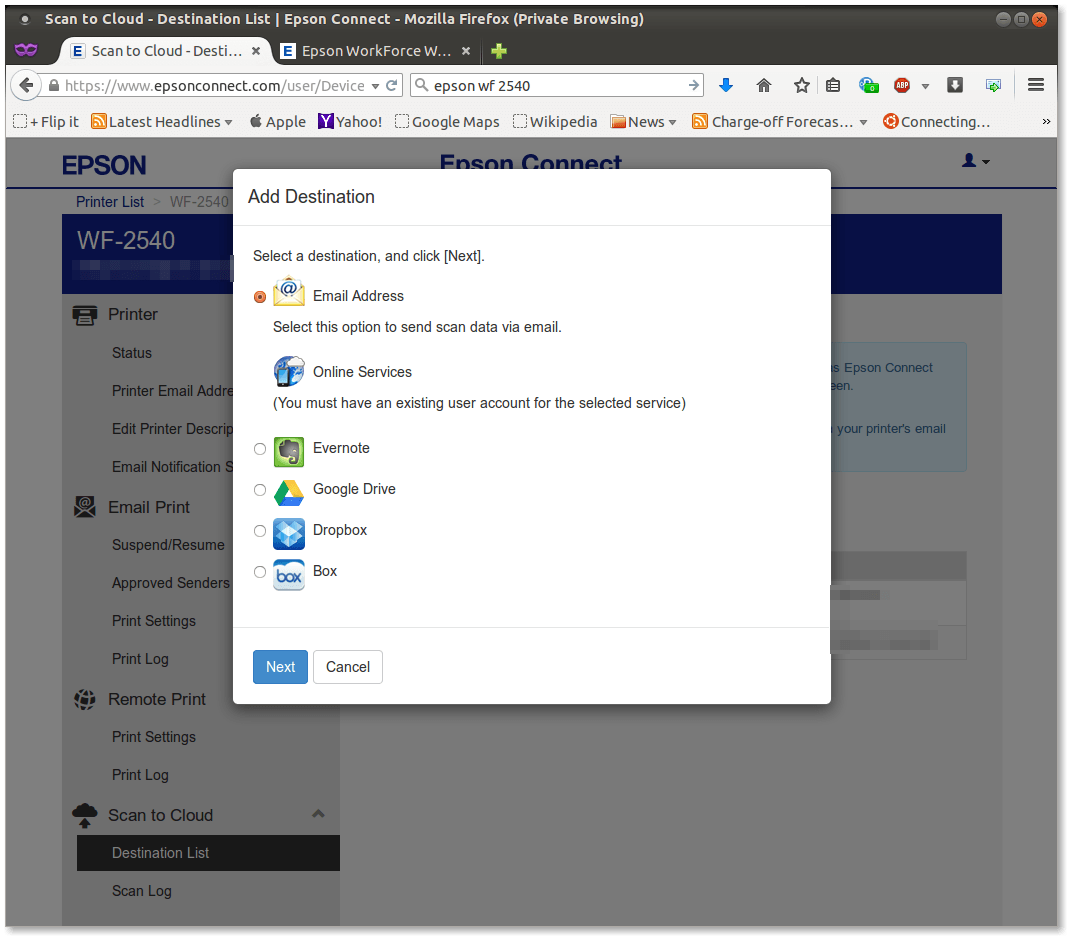 Figure 6.  Epson Connect panel for adding an email address or Google Drive, Box, Drop Box or Evernote cloud storage services as a scanning destination