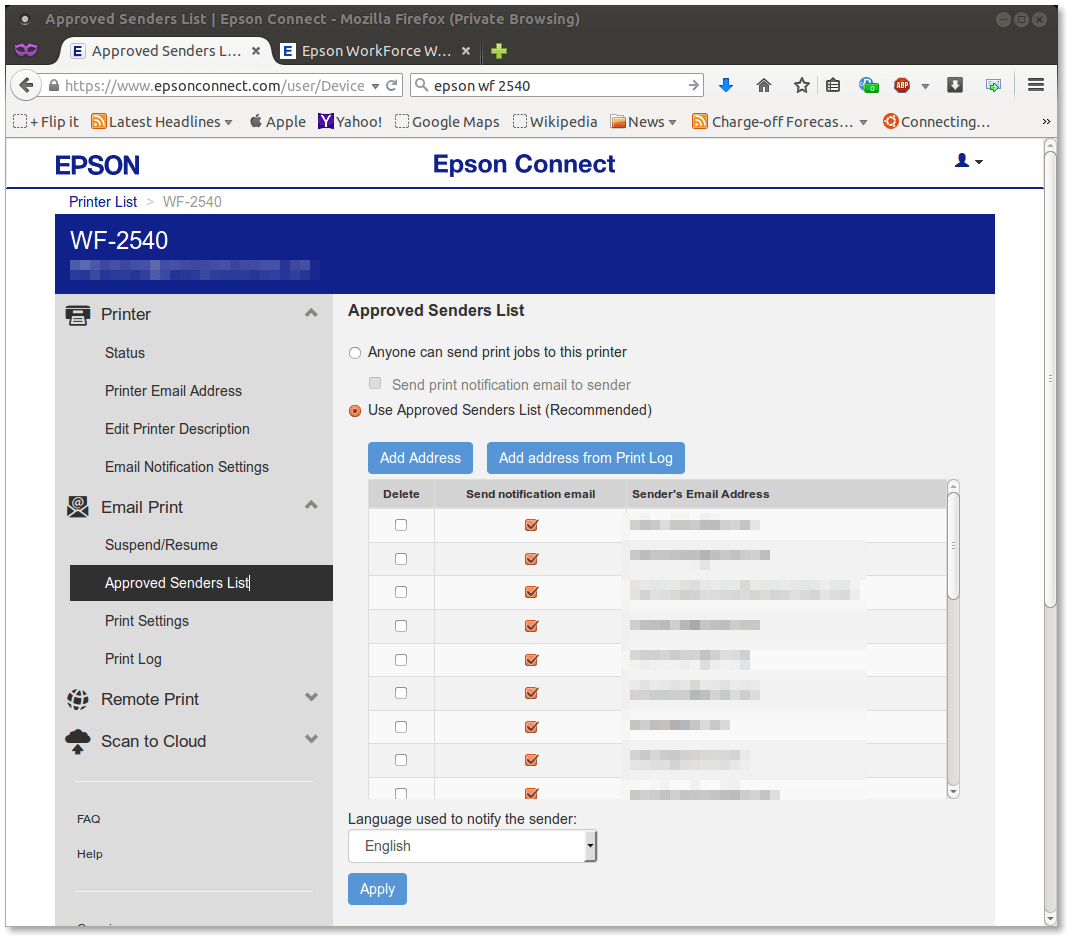 Figure 4.  Epson Connect panel for adding an email address to the list of email addresses authorized to print