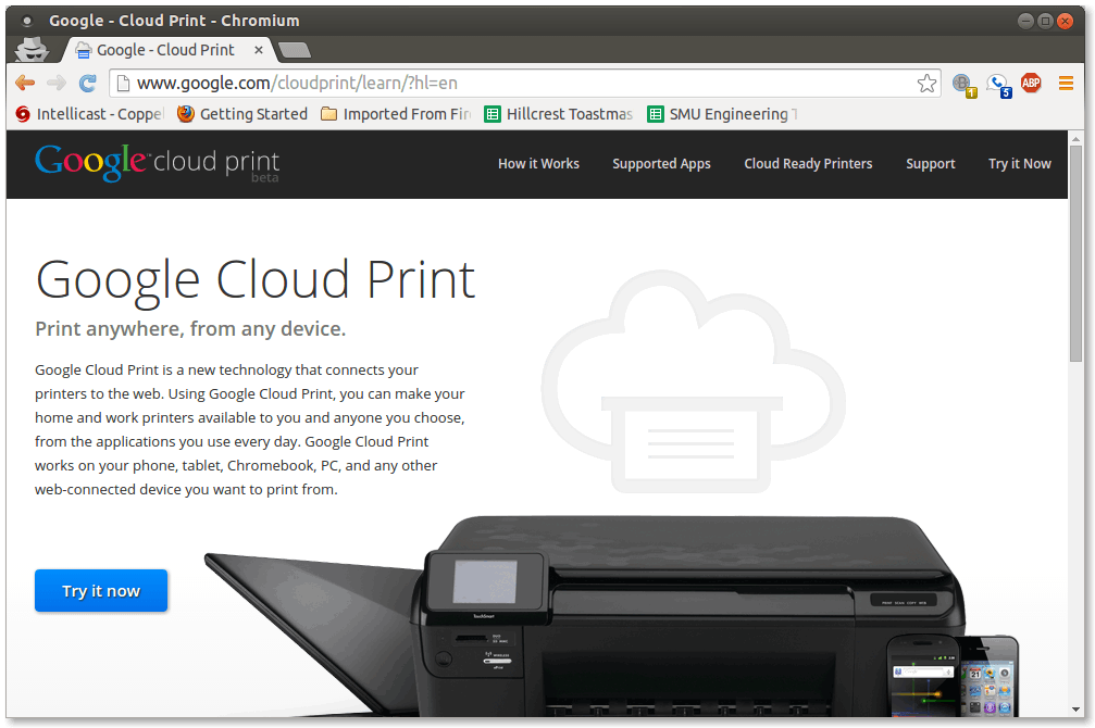 "Figure 7.  Google Cloud Print landing page where ""Try it now"" button leads you to the configuration panel"