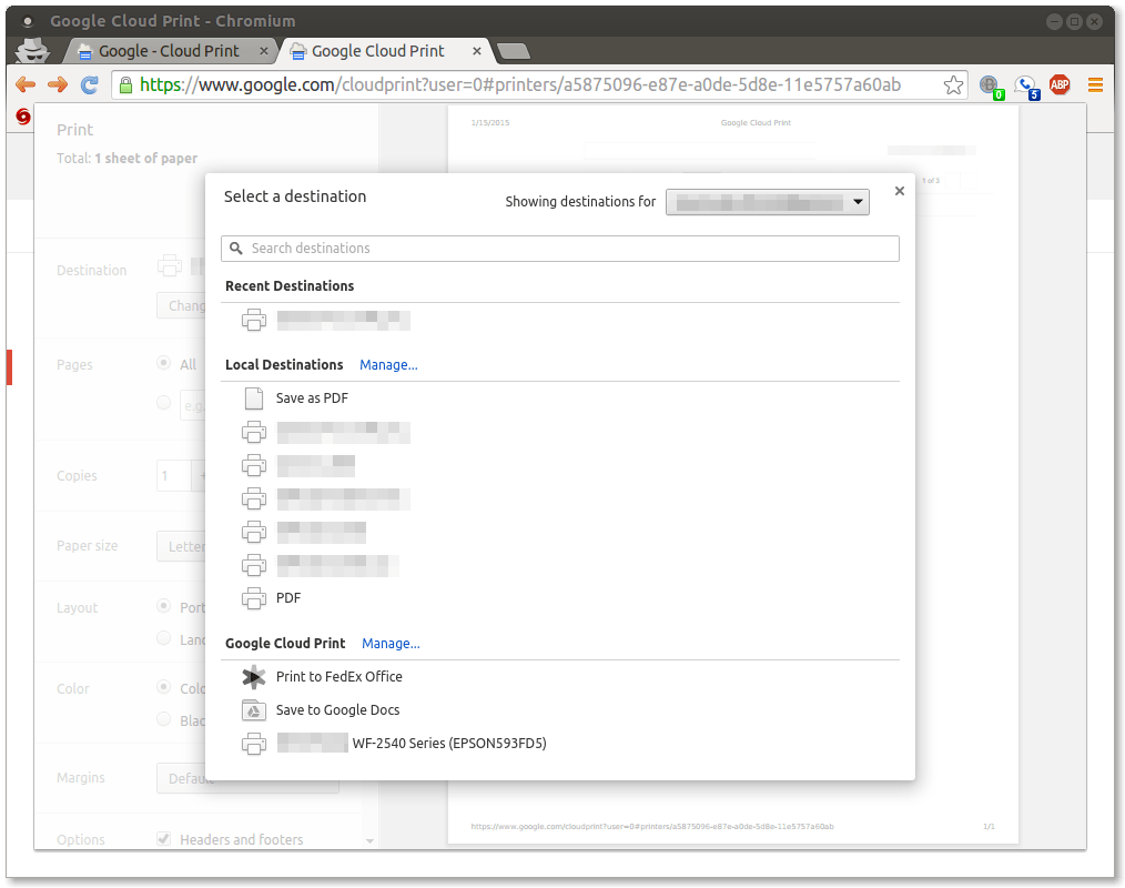 Figure 13.  Selecting a Google Cloud Printer from within the Chrome browser print dialog