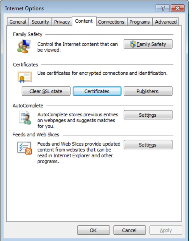 Screen capture of Microsoft Internet Explorer Options panel and certificate backup