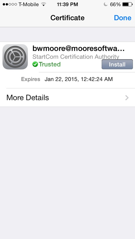 Screen capture of iPhone S/MIME email certificate information.