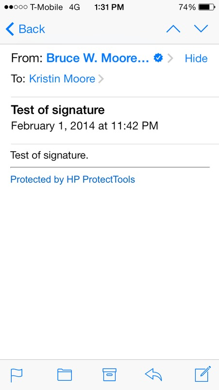 Screen capture of iPhone email client to show blue check-box that indicates a valid S/MIME digital signature.