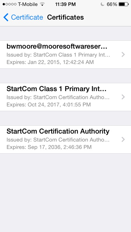 Screen capture of iPhone S/MIME email certificate chain.
