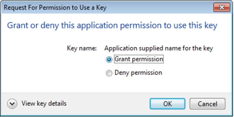 Screen capture of the Microsoft Outlook grant permission to access private key dialog