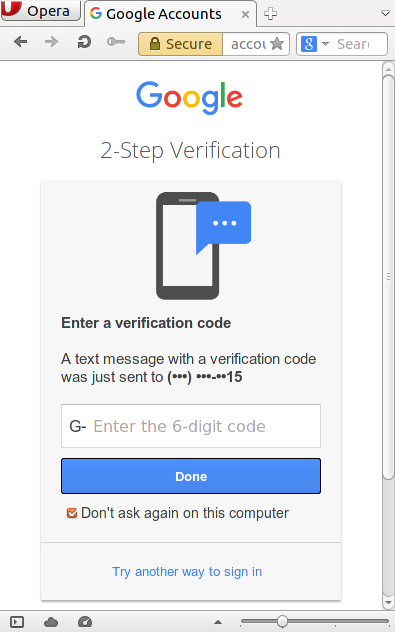 Google two-factor authentication sends a text message to your cell phone when a new device logs in to your account. You must enter the six-digit code to log in.