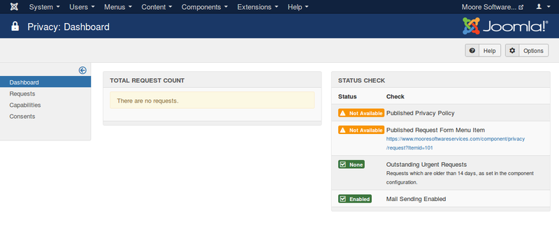 Joomla 3.9 introduces the Privacy Dashboard to give a summary of compliance issues on your site.