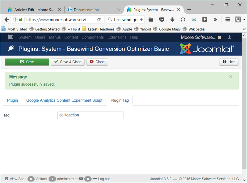 Figure 15. Set the Basewind tag to identify your experiment within Joomla