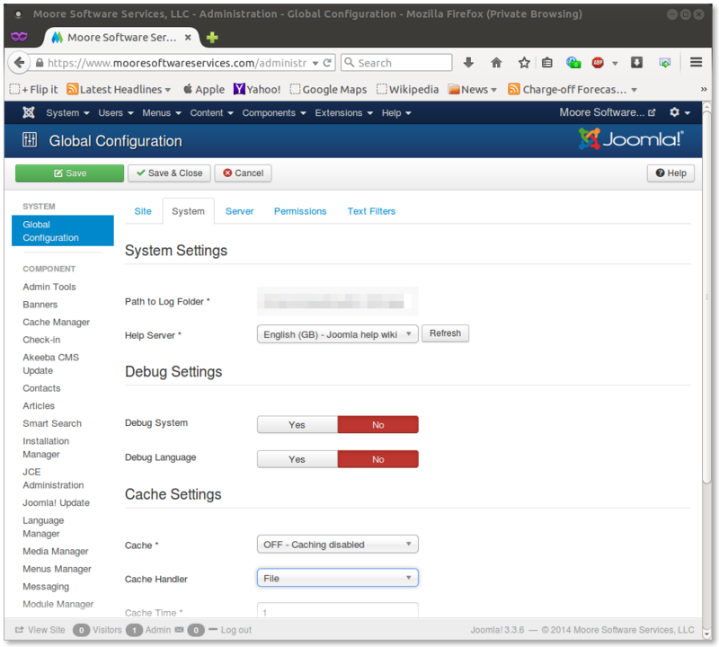 The Joomla Global Configuration system panel showing the settings for Joomla native caching