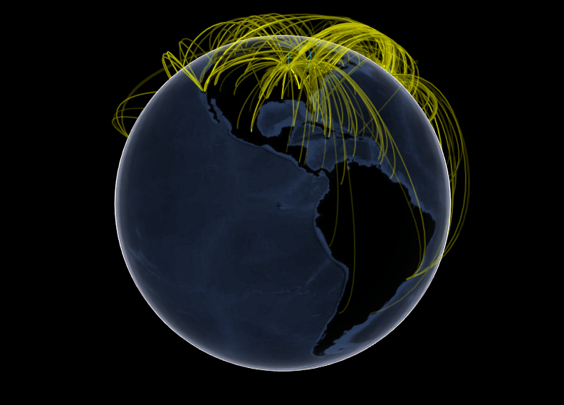 An global airline flight visualization generated by the R package threejs