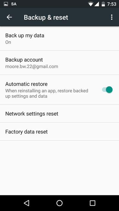 Nexus 5 running Android 6.0.1 showing the screen for performaing a factory data reset which destroys all user data.