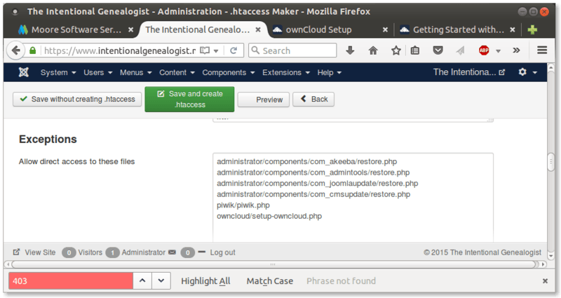 Figure 1. Allow owncloud installer access in Akeeba Admin Tools .htaccess generator