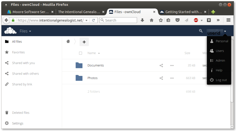 Figure 4. To access the admin tools in ownCloud, select the pulldown by your user ID in the upper right corner