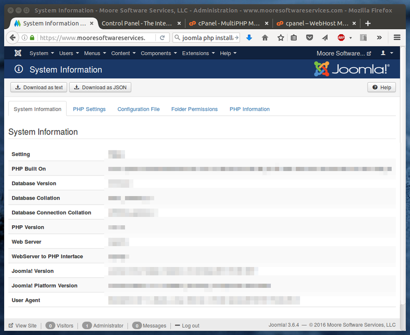 Joomla System Information dialog showing PHP and MySQL software levels.