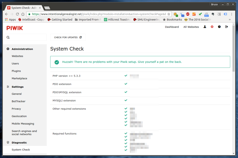 Piwik System Check dialog showing PHP and other configuration settings.