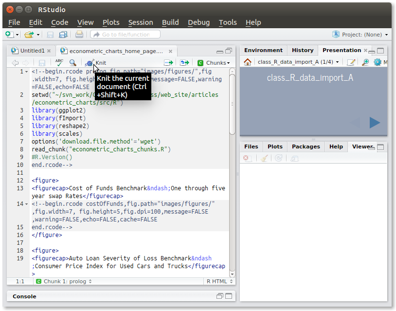 Running knitr in RStudio to generate an HTML file from the Rhtml source file