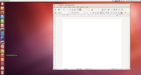Screen capture of Ubuntu showing virtual desktop icon as third from bottom in task bar.