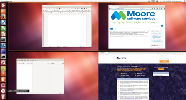 Screen capture of Ubuntu thumbnails for left and right monitors for virtual desktops 1 and 2