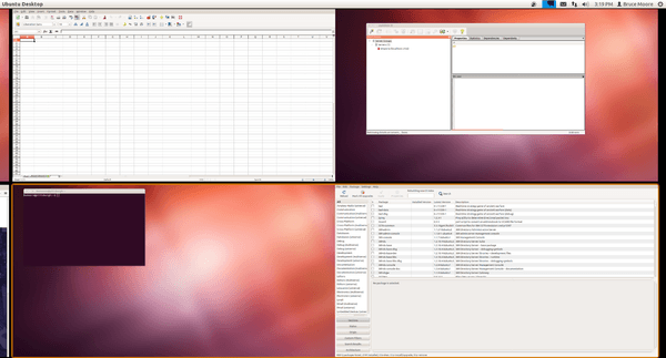 Screen capture of Ubuntu thumbnails for left and right monitors for virtual desktops 3 and 4