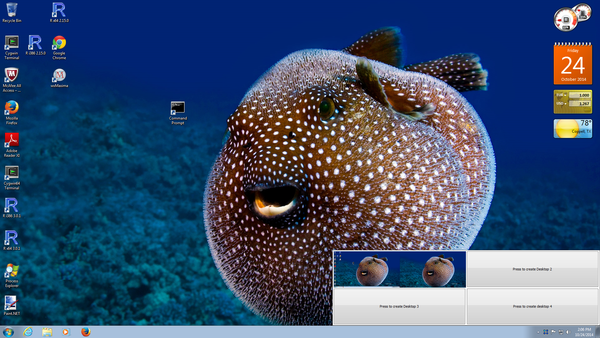 Screen capture of  thumbnails for virtual desktops on Windows with Desktop 2.0.