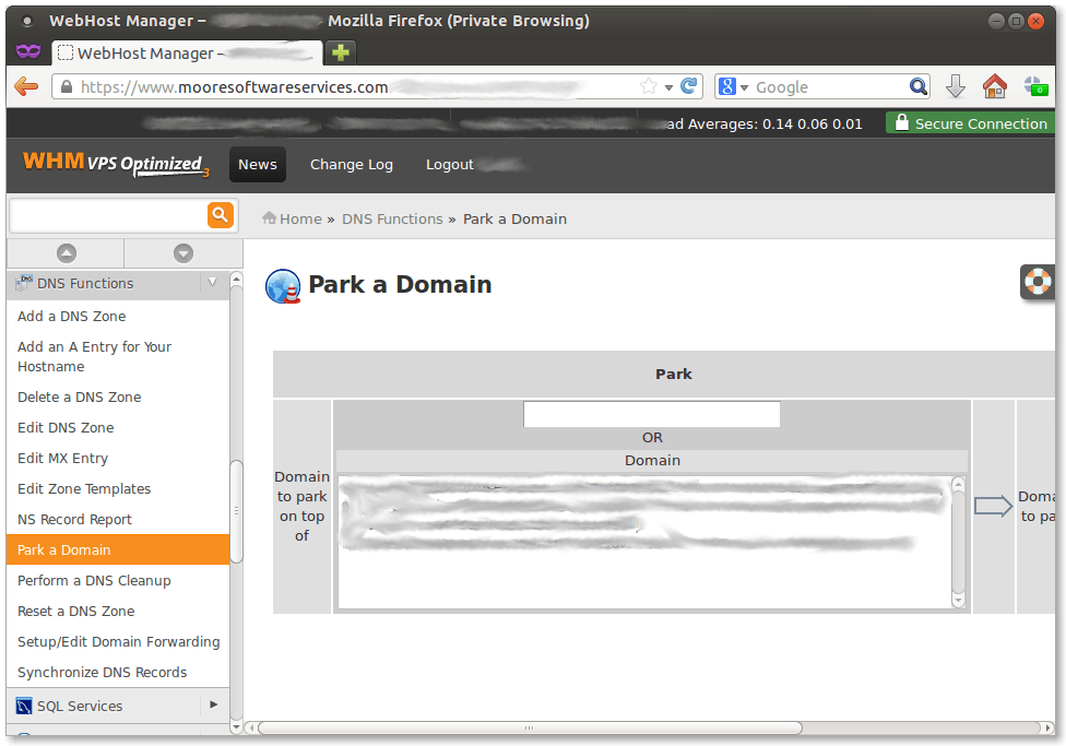 Screen capture of DNS park a domain dialog in Web Hosting Manager (WHM)