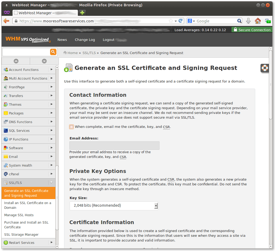 Screen capture of the Certificate Signing Request screen in Web Hosting Manager