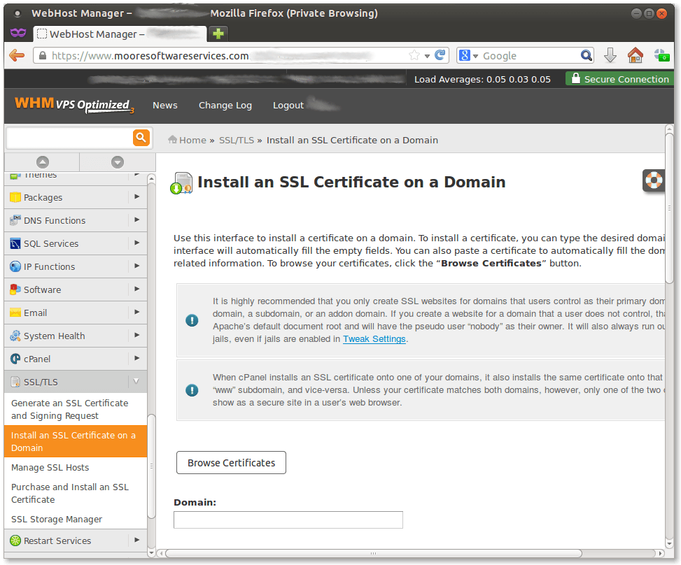 Screen capture of the certificate installation screen in Web Hosting Manager
