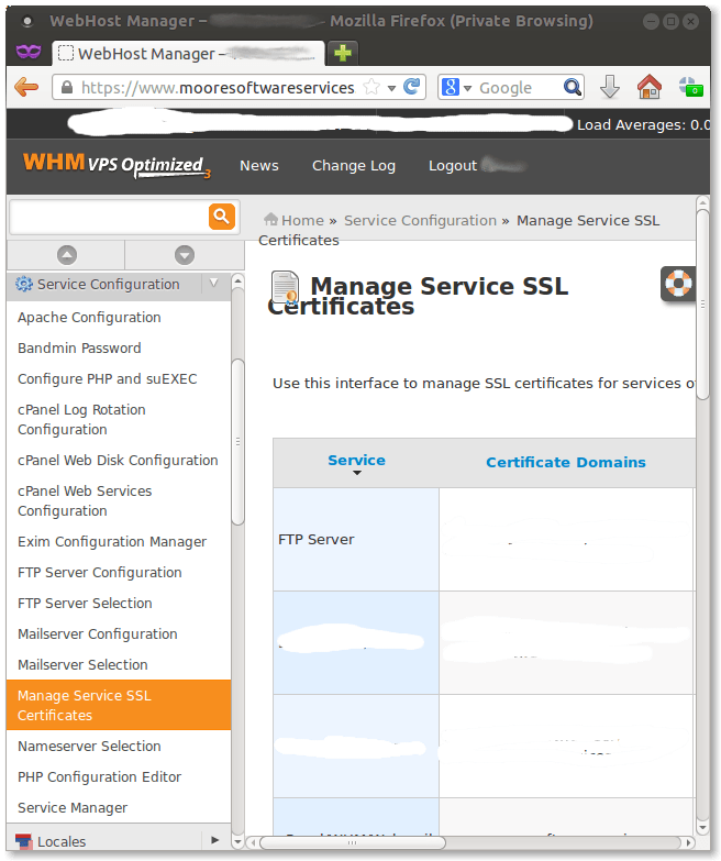 Screen capture of email and FTP SSL certificate installation screen in Web Hosting Manager (WHM)