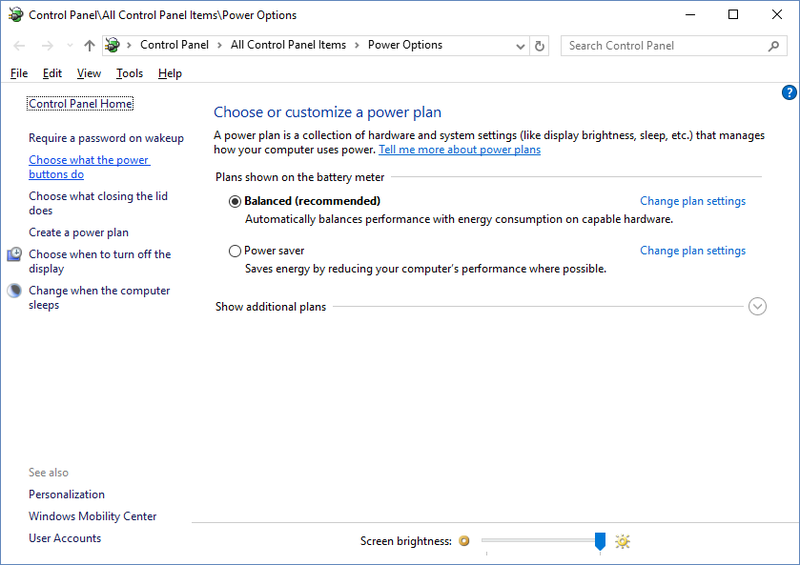 Windows 10 Advanced power settings showing Choose what the power buttons do menu on left