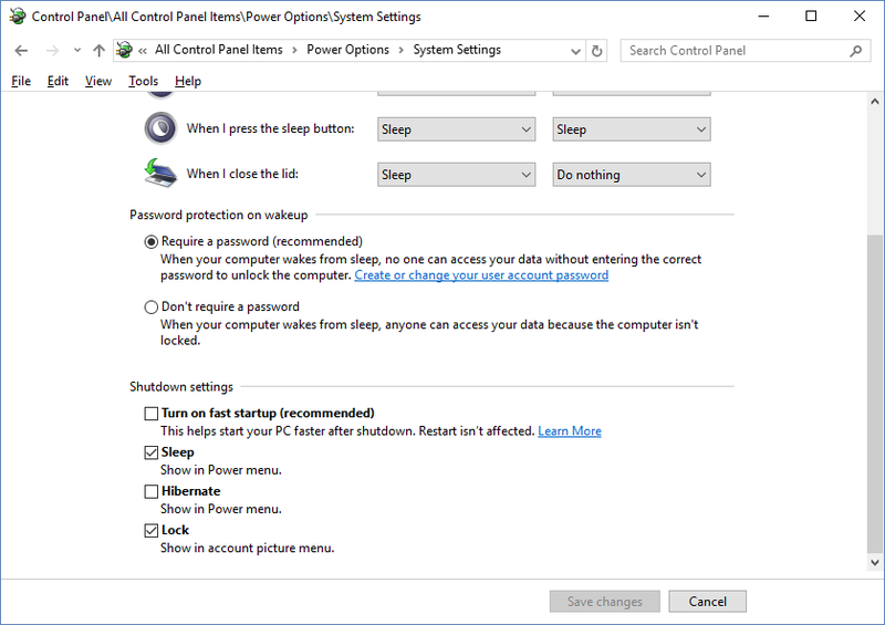 Windows 10 Shutdown settings with Turn on fast startup disabled