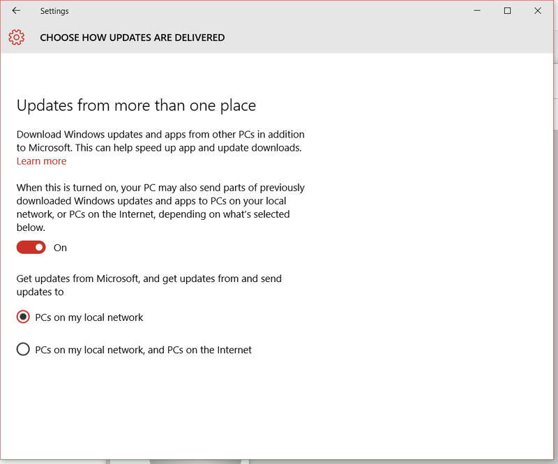 Figure 4. Select the Advanced Options at the bottom of the Windows 10 Update Settings Advanced Options panel where you can choose whether to allow other computers to update from your computer