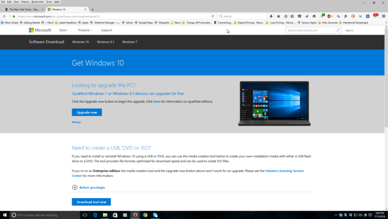Download the Windows 10 Upgrade tool directly from the Microsoft web site