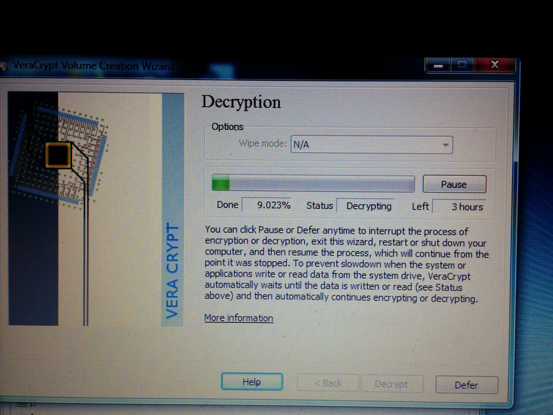 Three hour time estimate for decrypting a VeraCrypt drive